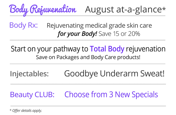 August specials at Rejuvent