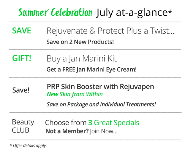July Specials at a Glance