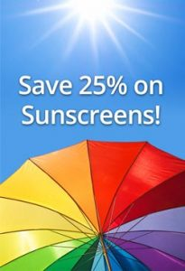 Protect your skin and save 25% on sunscreens
