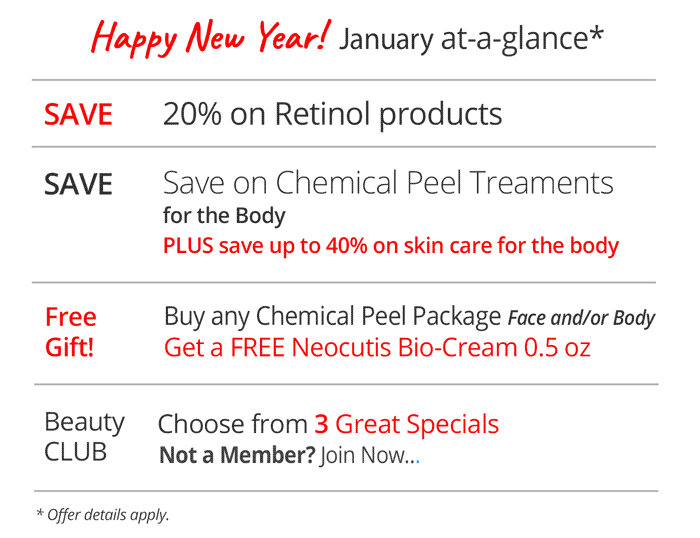 Specials for January at a glance