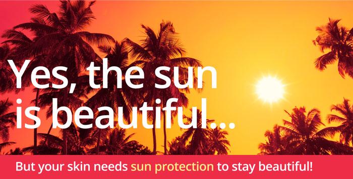 Beautiful sun and sun protection