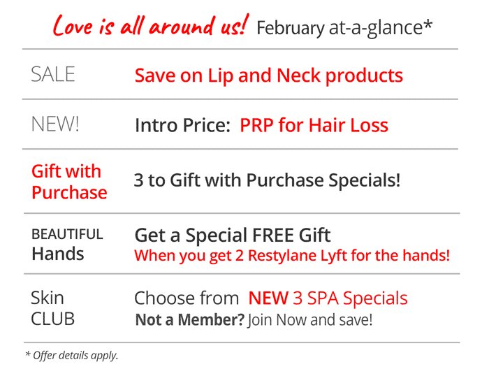 February at a glance specials