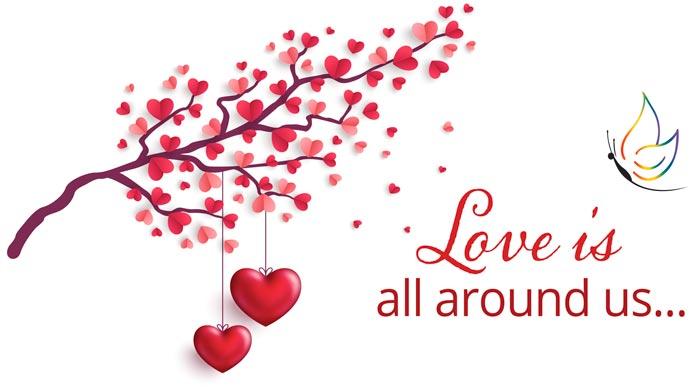 hearts and heart shaped hearts on tree