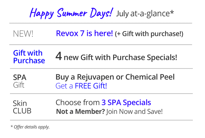 Rejuvent list of specials July 2019